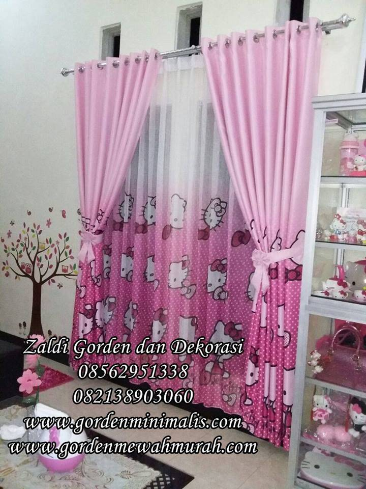 Gorden anak hello kitty bahan dimout
