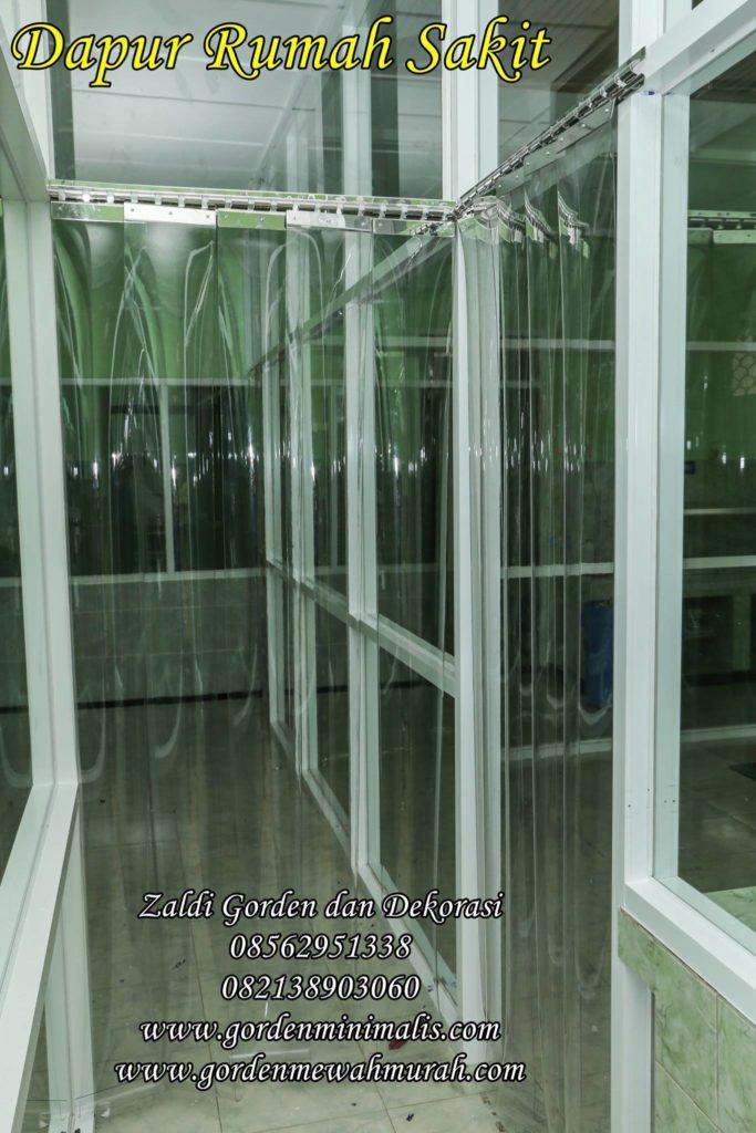Gorden pvc plastik transparan untuk dapur rumah sakit