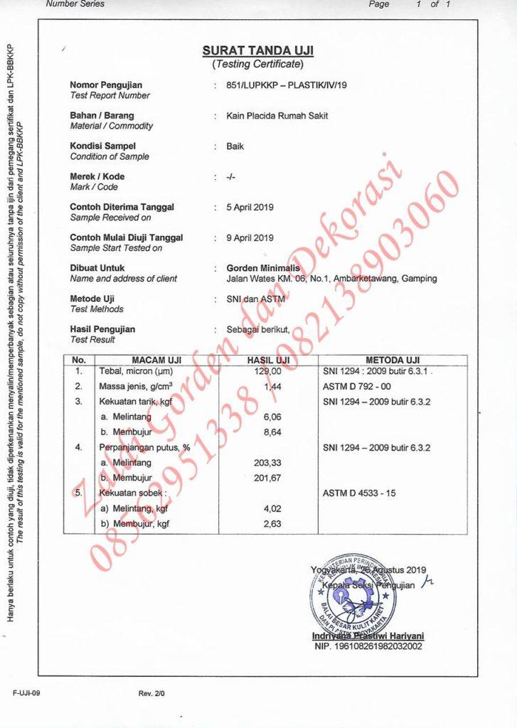 hasil Uji laboratorium gorden anti noda placida standar nasional akreditasi rumah sakit