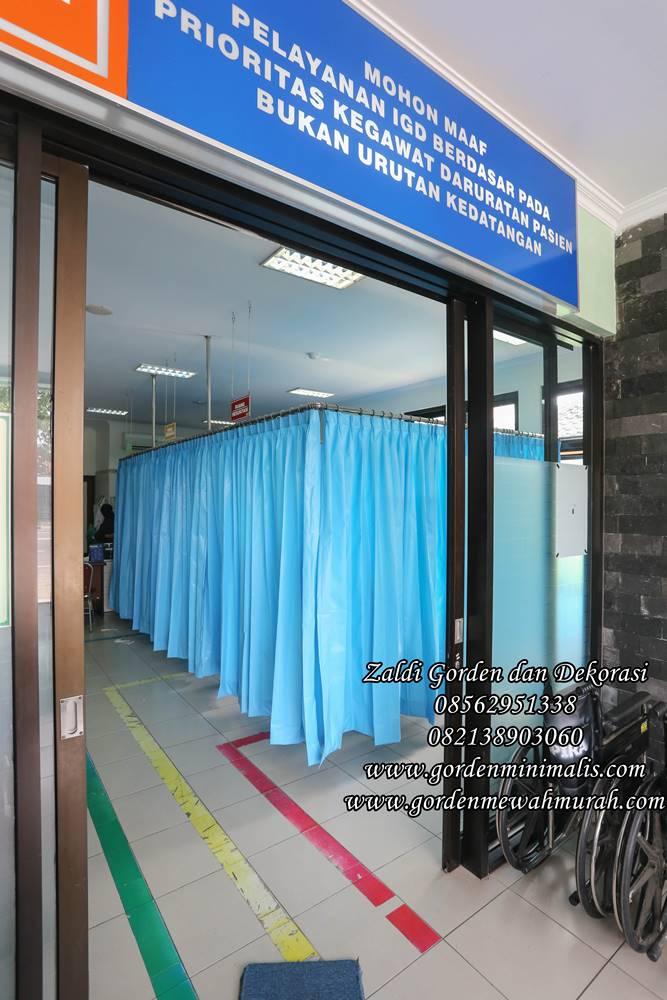 Tirai gorden anti noda untuk ruang UGD atau ruang IGD