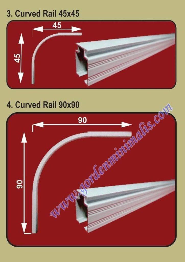 curved rail / rel lengkung : berfungsi untuk tempat yang akan dibuat sekat melengkung