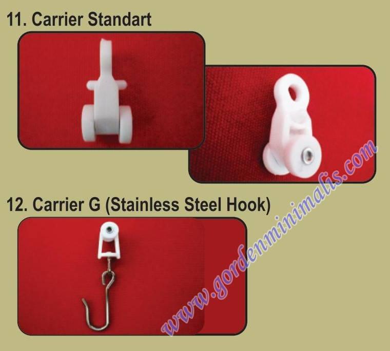 carrier standar : roda rel rumah sakit ini berfungsi sebagai roda menjalankan gorden rumah sakit carrier G (stainless steel hook) : digunakan untuk gorden rumah sakit yang menggunakan lubang mata ikan.