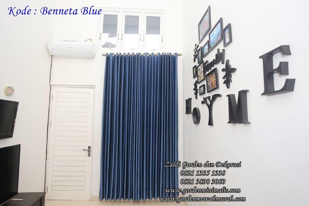 Gorden Minimalis bahan blackout murah warna biru kode benneta blue