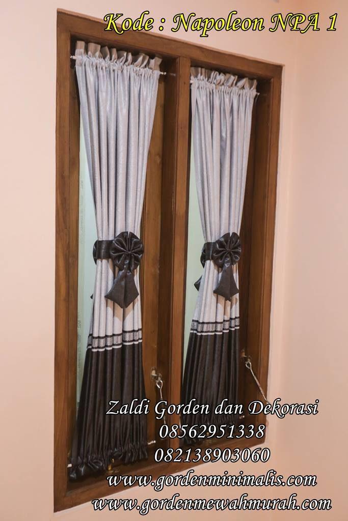 Gorden minimalis model pita untuk jendela kecil dua warna