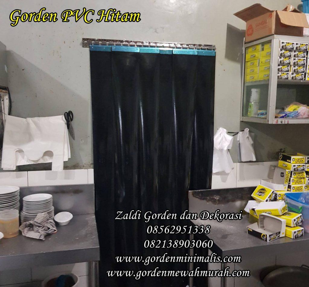 Gorden PVC plastik warna hitam untuk di dapur restoran